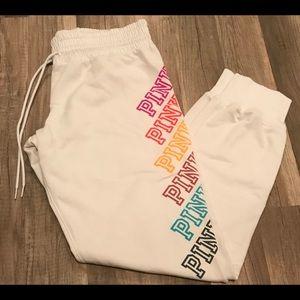 White Rainbow 🌈 Logo Pink Joggers